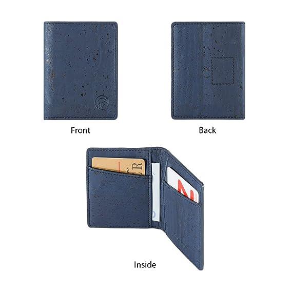 4438e44d7c30e CORKOR Geldbörse Minimalistische Brieftasche Herren Leichtes Bifold Natur- Leder RFID Schutz Blocker für Kreditkarten Natur Veganer Korkleder Blau  ...