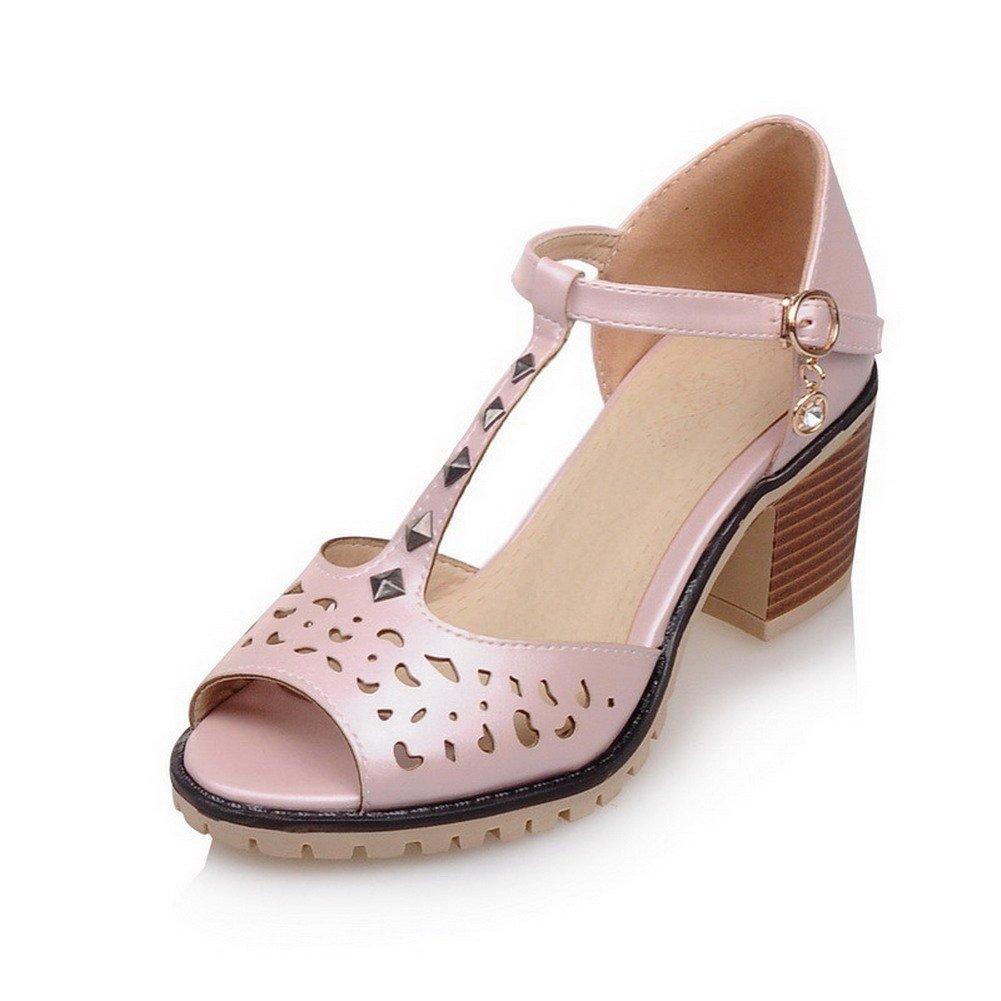 WeiPoot Women's Kitten-Heels Soft Material Solid Buckle Peep Toe Sandals, Pink, 37