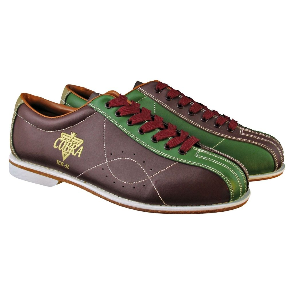 Bowlerstore Mens TCR 3L Cobra Rental Bowling Shoes Laces (10 1/2 M US, Brown/Green)