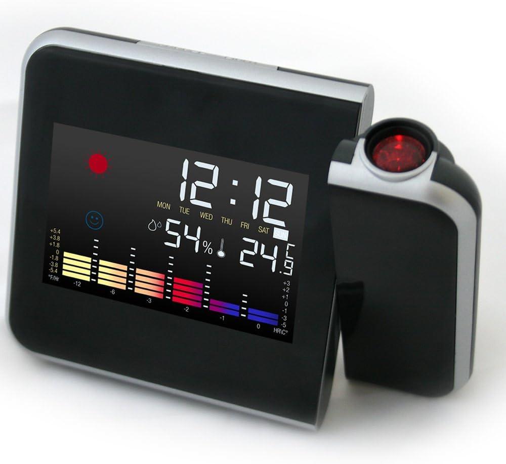 Jago - Reloj despertador proyector con estación meteorológica y ...