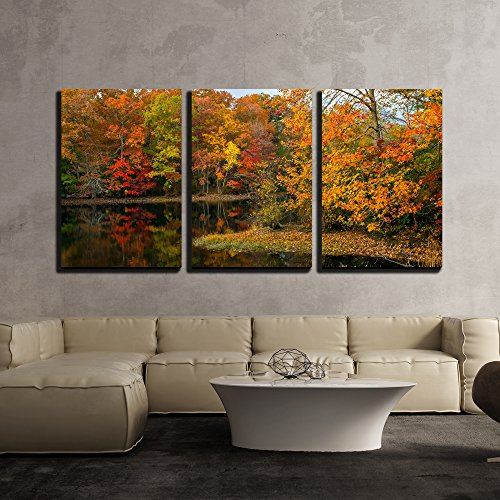 Jersey Piece Frame - wall26 - 3 Piece Canvas Wall Art - Colorful Autumn Reflections on This Pond in Allaire State Park in New Jersey. - Modern Home Decor Stretched and Framed Ready to Hang - 24