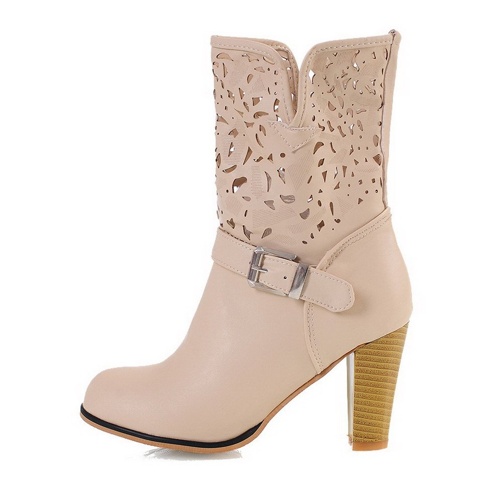 AmoonyFashion Womens High-Heels Soft Material Low-Top Solid Pull-On Boots