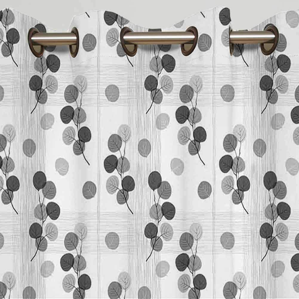 Grey Decor Sliding Door Curtain Artisan Circle Shaped Leaf Foliage Branches with Sketchy Lines Strips on Background Thermal Backing Sliding Glass Door Drape,Single Panel 63x72 inch,for Sliding Door S