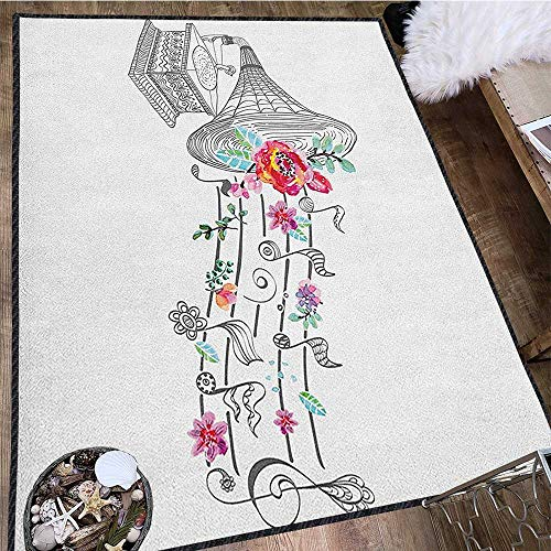 Music Colorful Area Rug,Vintage Style Gramophone Record Player with Floral Ornament Blossom Antique Waterproof and Easy Clean Grey Black White 63