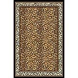 Zone Ebony Leopard Rug Rug Size: 3'7