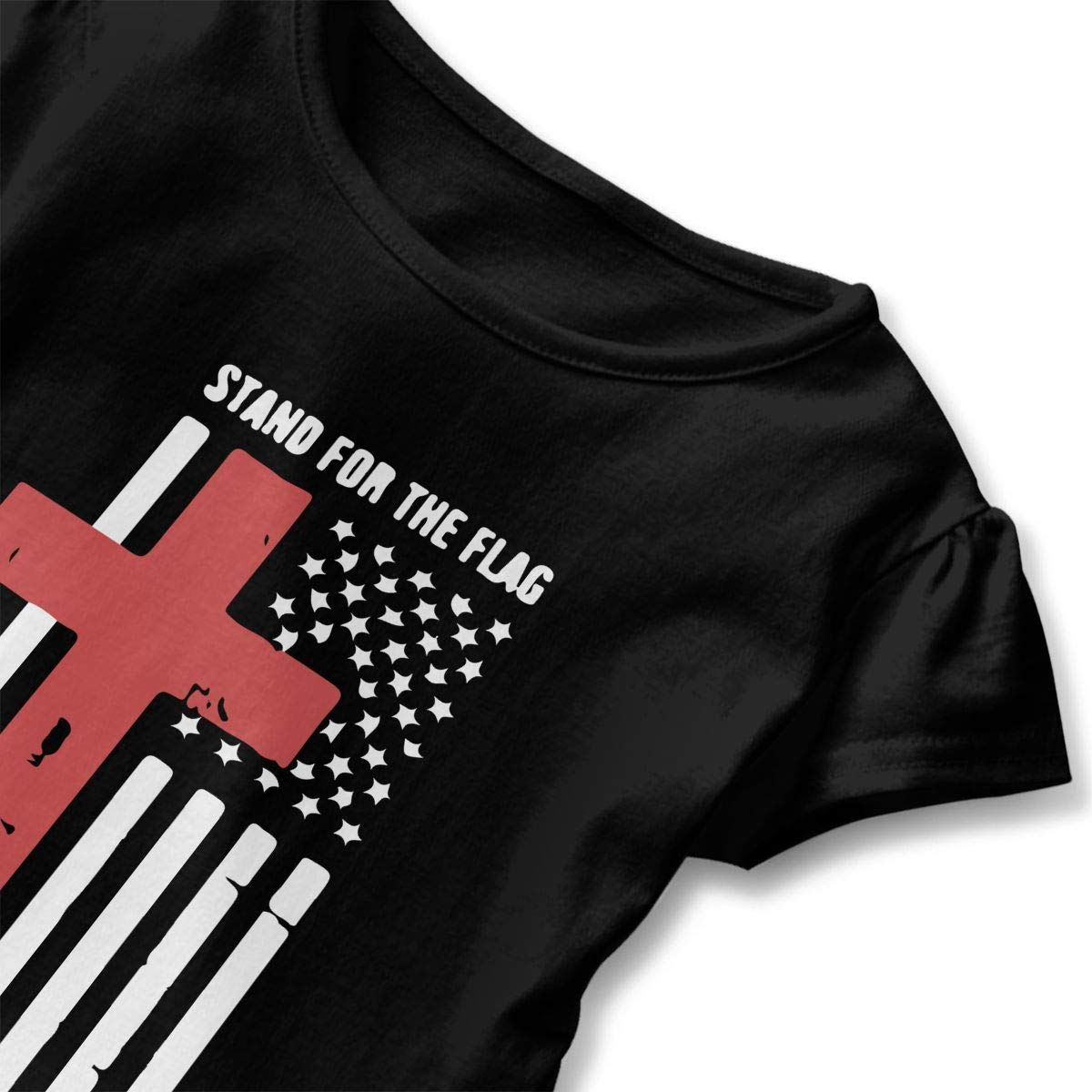 Toddler Baby Girl Stand for The American Flag Kneel for The Cross 100/% Cotton T Shirts Short Sleeve Ruffle Tee Basic Tops