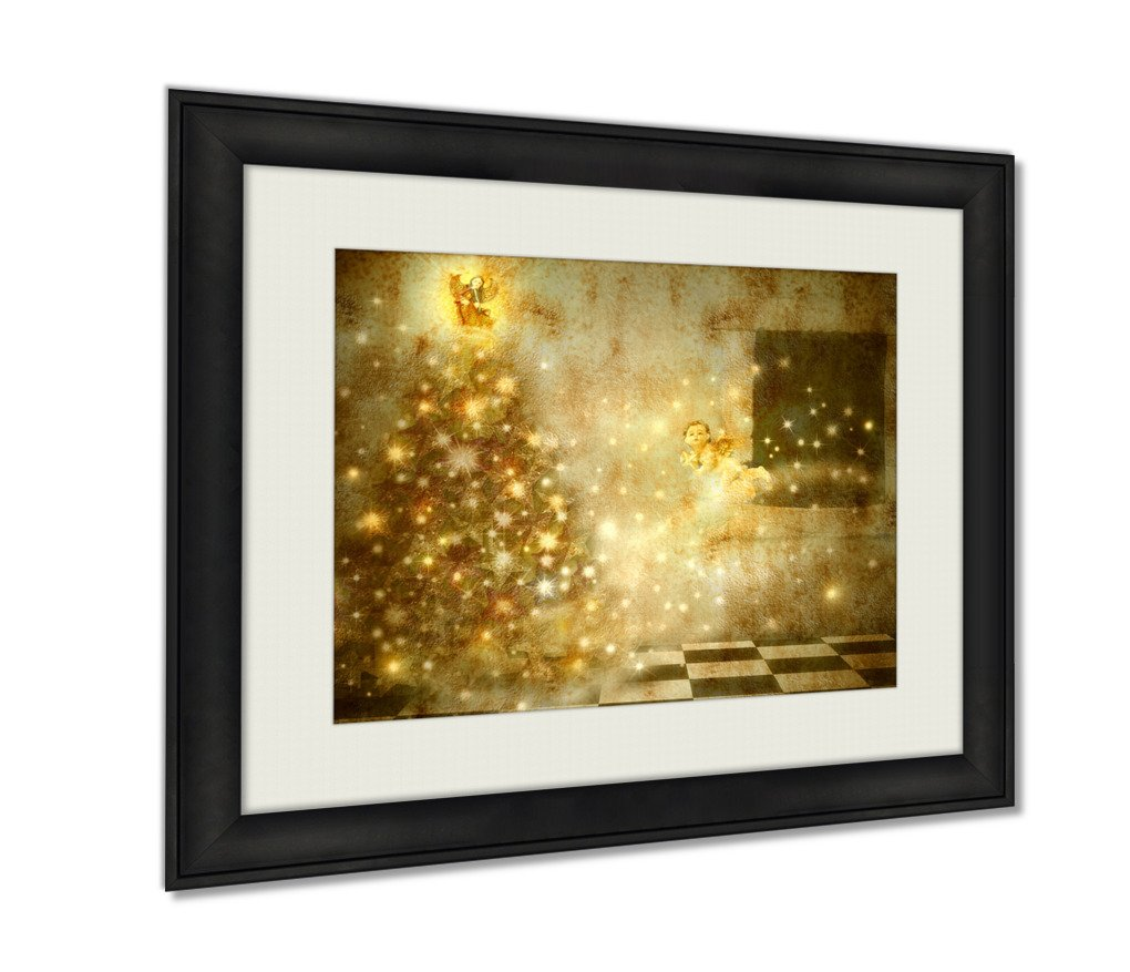Ashley Framed Prints, Old Christmas Card Angels And Tree In Home, Wall Art Decor Giclee Photo Print In Black Wood Frame, Ready to hang, 16x20 Art, AG6442135