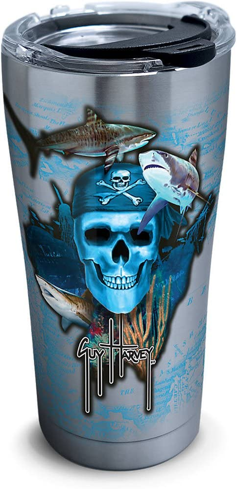 Tervis Guy Harvey Pirate Skull Stainless Steel Tumbler with Clear and Black Hammer Lid 20oz, Silver