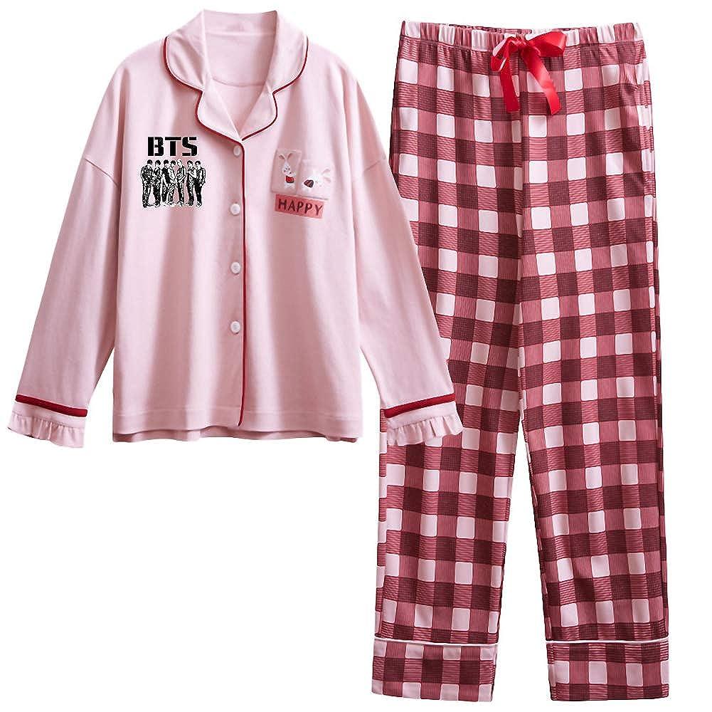 BTS Pigiama Due Pezzi Donna Top e Pantaloni a Manica Lunga Set da Notte Puro Cotone Abbigliamento da Salotto Morbidi Loungewear