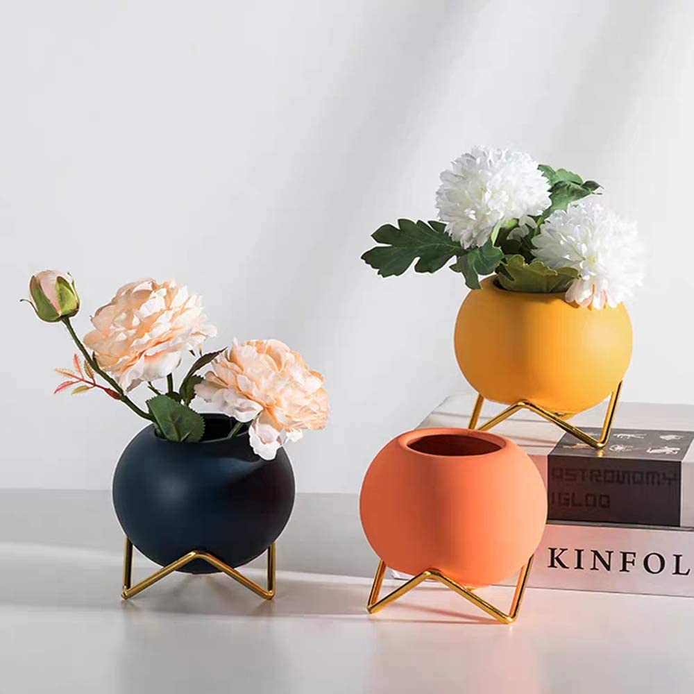 Small Flower Vase Set of 3, Modern Ceramic Vase for Living Room Decor Yellow Blue Orange Round Vase for Faux Flowers Home Office Table Wedding Centerpieces Events