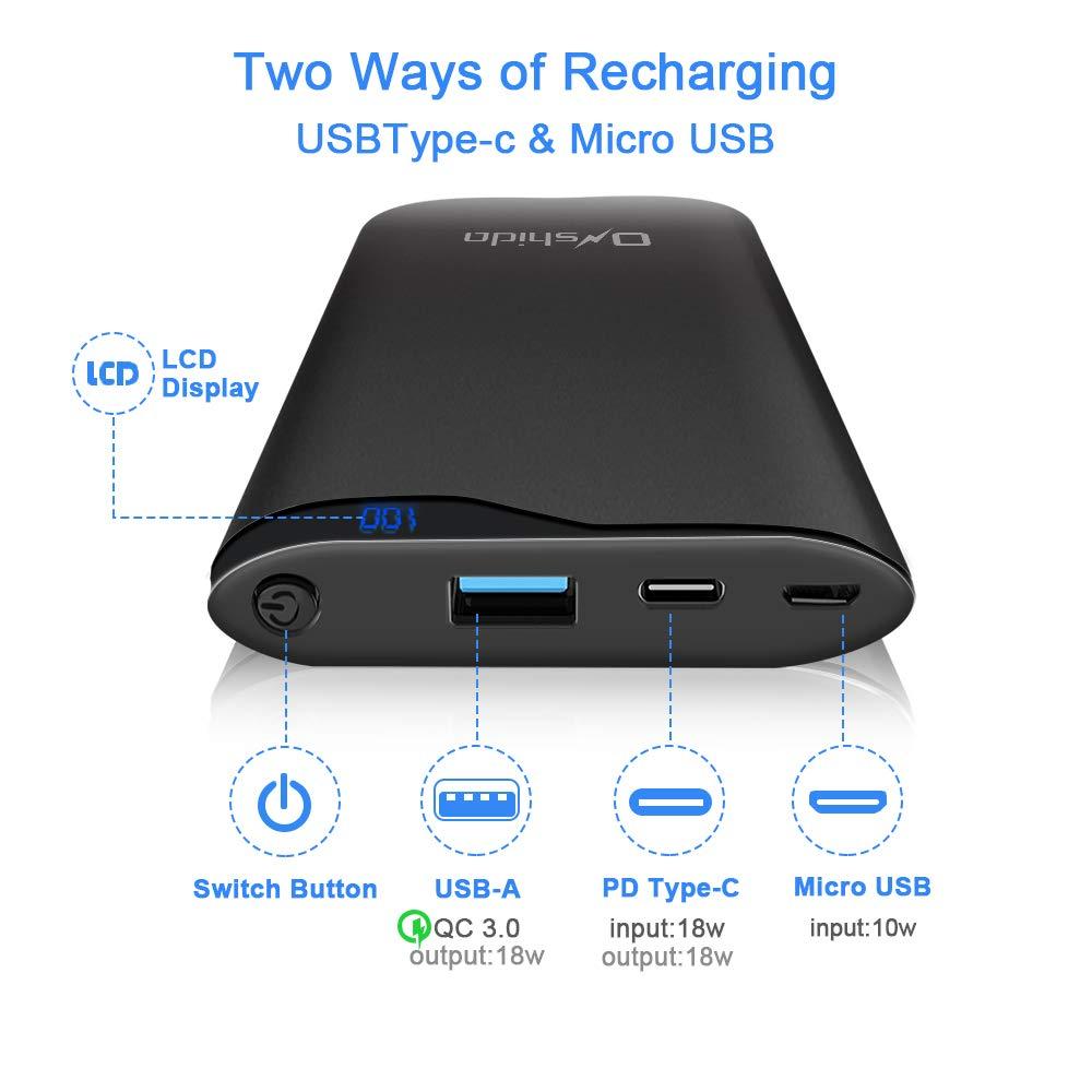 Pixel Onshida Bater/ía Externa Powerbank 10400 mAh Compatible iPhone X//XS MAX Cargador M/óvil Port/átil Entrada y Salida Tipo C con Quick Charge 3.0 Samsung etc. PD-Power 18 vatios