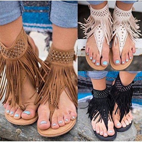 BOZEVON Femmes Glands Strass D'éTé Plates Clip Toe Sandales Mode Chaussures Marron gXsGe1cJfY