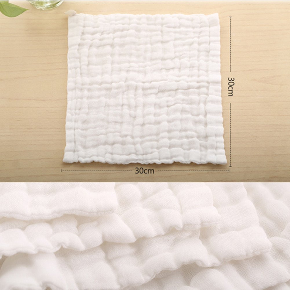 Baby Muslin Squares Set Pure White * 5 Pack 11.8x11.8 inch Baby Wash Cloths by Leepem Toalla y toallitas para beb/é