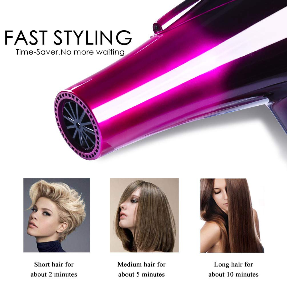 Professional Ionic Hair Dryer,Ceramic Powerful Fast Heat Salon Performance AC Motor Styling Tool,6000W Blow Dryer with Nozzle and Diffuser High Speed for Women Men Smooth(110V & 120V,6000W,Purple) by Mannice (Image #3)