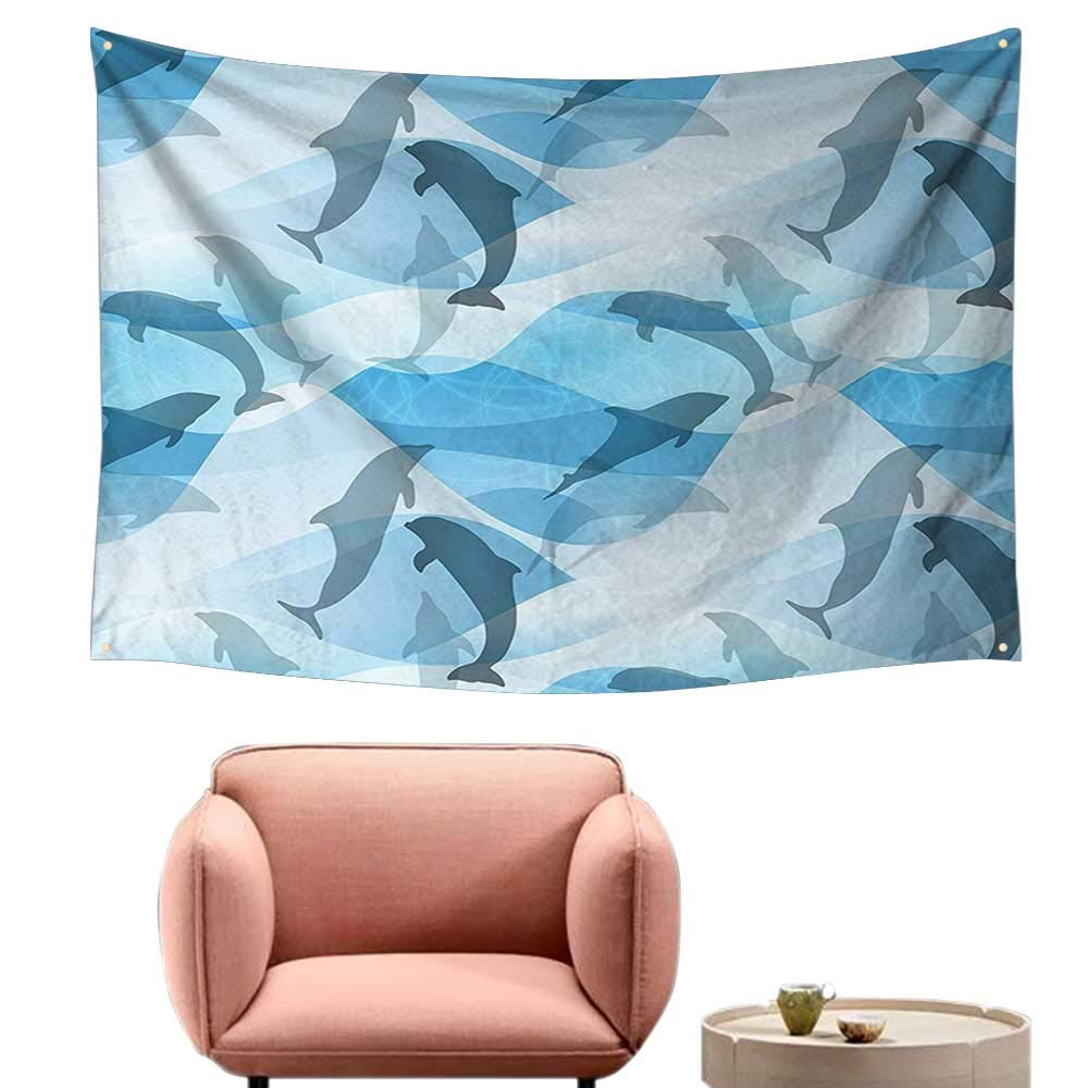 alsohome Pattern Tapestry Tapestry for Girls Giant Turtle Carry Isl Swimm Under The Ocean Fantasy 93X70