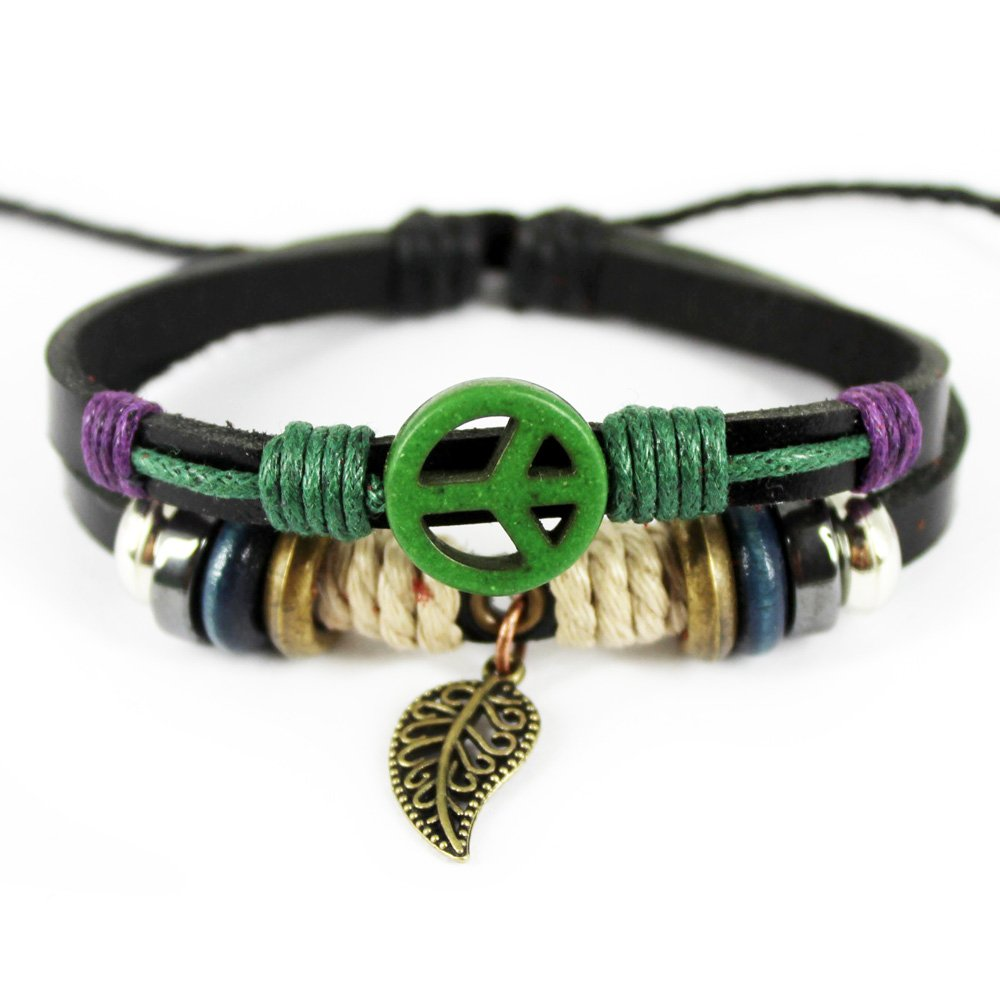 Real Spark Genuine Leather Friendship Gift Wristbang Leaf Pendant Beaded Ajustable Wrap Bracelet 1314272