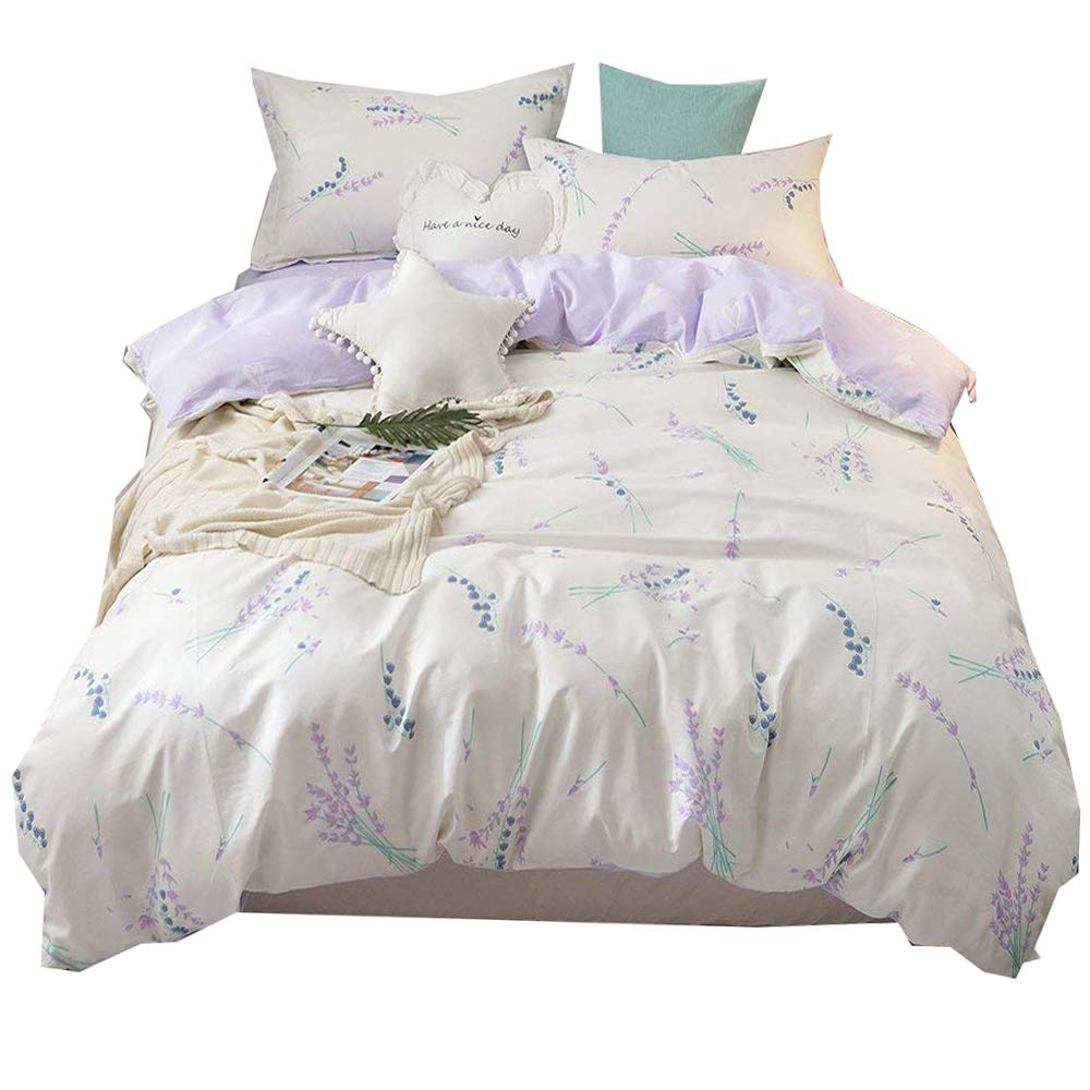 BHUSB Lilac Flower Bedding Kids Duvet Cover Set Full 3 Piece Soft Cotton Reversible Bedding Collection for Teens Girls Gift Fresh Rural Theme Bedding Sets Full/Queen with Hidden Zipper