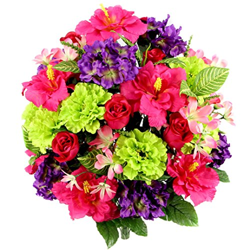 Freesia Stems - Admired By Nature Artificial Hibiscus with Rosebud, Freesias & Fillers Flower Mixed Bush - 36 Stems for Memorial Day
