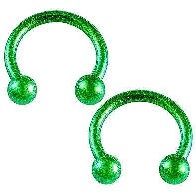 "18g 16g 14g 1//4/"" 2pcs 1//2/"" Anodized Horseshoe Circular Barbell Septum Earrings"