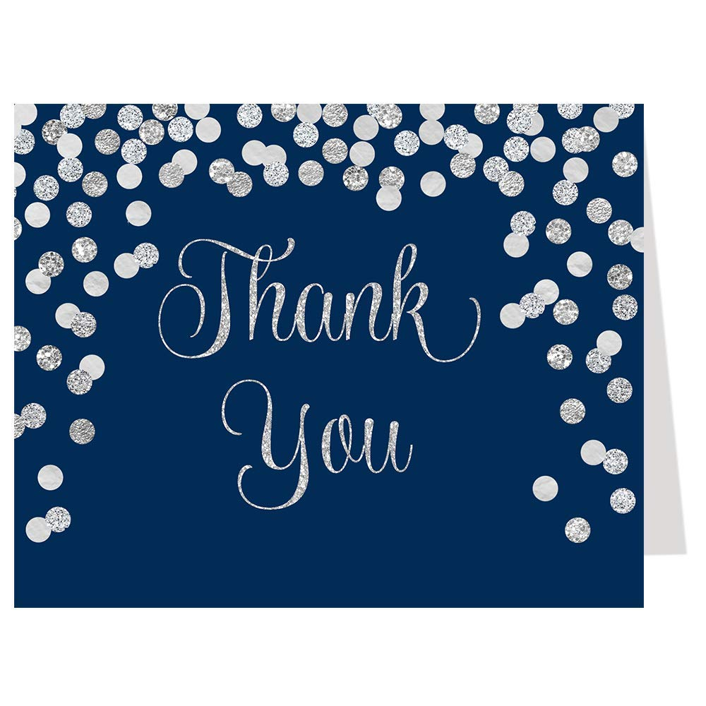 Thank You Cards, Confetti, Navy Blue, Silver, Bridal Shower, Wedding, Baby Shower, Blue, Glitter, Set of 50 Folding Notes with Envelopes, Brunch and Bubbly