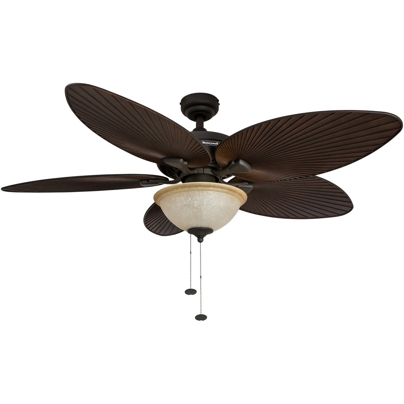 Honeywell Palm Island 52-Inch Tropical Ceiling Fan with Sunset Glass Bowl Light, Five Palm Leaf Blades, Indoor/Outdoor, Bronze by Honeywell Ceiling Fans