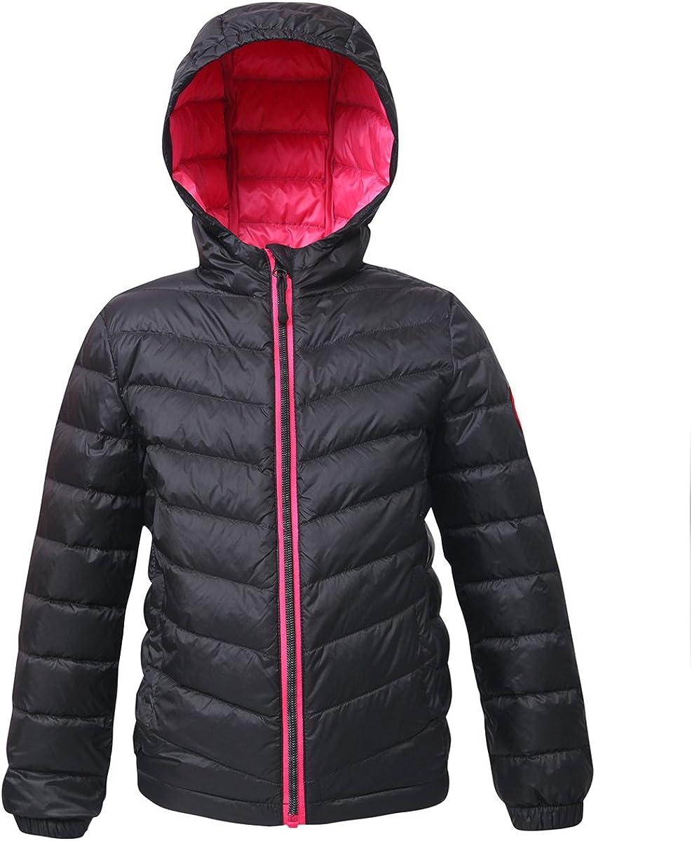 Rokka&Rolla Girls' Ultra Lightweight Packable Down Puffer Jacket Coat: Clothing