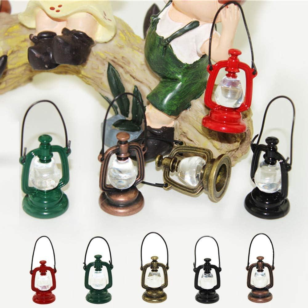 5 couleurs au choix Accessoires de maison de poup/ée Miniature Dollhouse Accessoires D/écoration Mini Lampe /À Huile Enfants Jouet Momola 1//12 et 1//6 Mini lampe /à huile r/étro Bronze