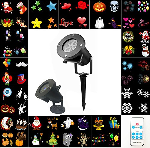 LED Projector Light REAK Halloween Projector Light with Remote Control, Waterproof Landscape Spotlight with 15 Switchable Slides for Christmas Halloween Holiday Wedding Party Outdoor Indoor Home Decor