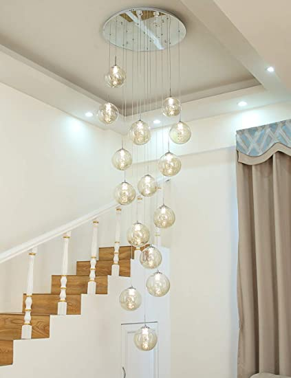 Mzhch Lamp 60 X 300 Cm Minimalistische Trap Lange Kroonluchter Duplex Holle Woonkamer Loft Kroonluchter Modern Creatief Hotel Villa Stairwell Hoge Plafond Hanglamp Glazen Bol 15 Lampen Amazon Nl