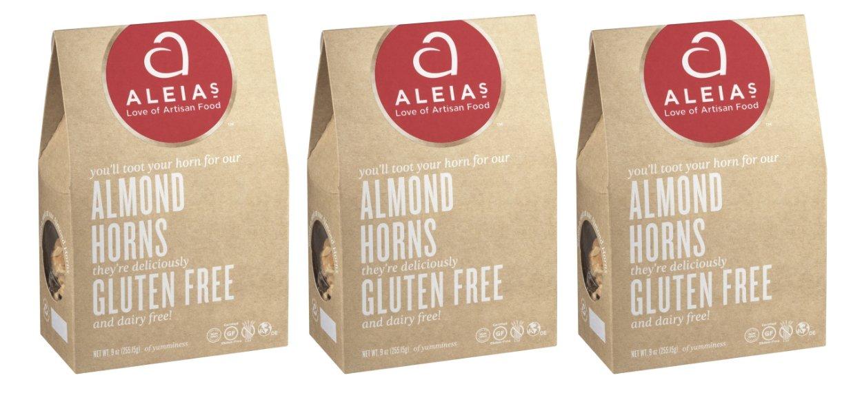 Aleia's Gluten Free Almond Horn Cookies, 9 oz Family Size Box (3 Packs)