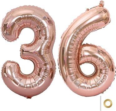 Huture 2 Globos Número 36 Figuras Globo Inflable de Helio Globos Grandes de Aluminio Mylar Globos Oro Rosa Gigantes Número Globos 40 Pulgadas para Fiesta de Cumpleaños decoración graduación XXL 100cm