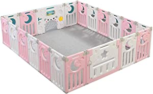 FCXBQ Indoor Foldable Playpen for Baby and Toddlers Plastic Baby Playpen with Activity Panel Included (Pink & White with Mats)
