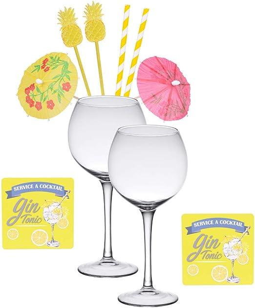 Table Passion - Estuche especial gin tonic (2 vasos de 50 cl, 8 accesorios): Amazon.es: Hogar
