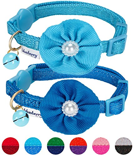 Blueberry Pet Pack of 2 Cat Collars, The Beloved Fancy Metallic Thread Adjustable Breakaway Cat Collar with Bell and Flower Deco, Pastel Blue & Carolina Blue, Neck 9