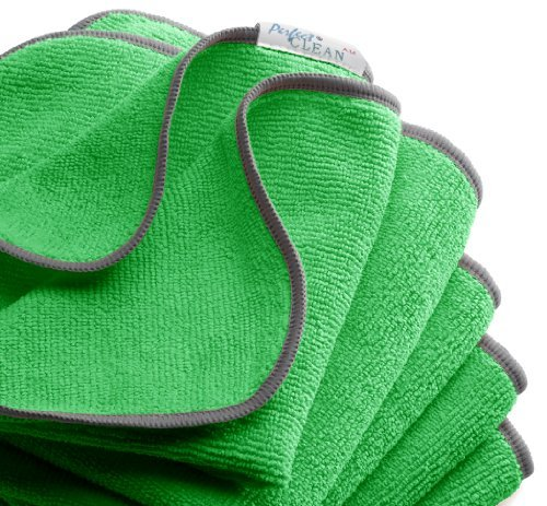 "PerfectCLEAN® Green 16"" x 16""All-purpose Antimicrobial Micro-denier washable and sustainable Terry Wiper (ultra microfiber cleaning cloth)-For household, automotive and professional cleaning use (pack of 5) by PerfectCLEAN"