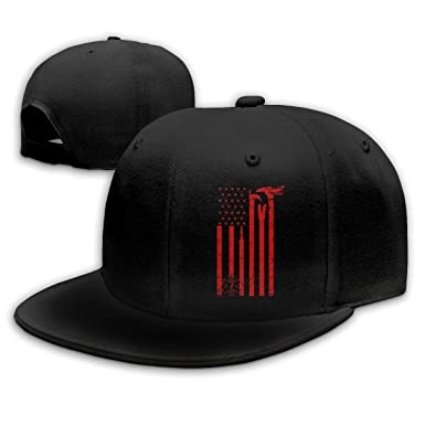 8a37bf00c WJBQ-NC Flat Brim Baseball Hat for Mens Fire Department Flag Personalized  Sports Cap Black at Amazon Men's Clothing store:
