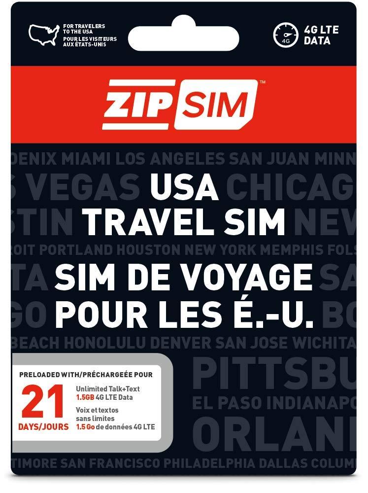 ZIP SIM prepago USA SIM para viajeros Talk + Text + Data 21 ...