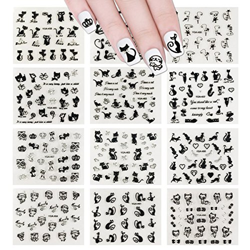 ALLYDREW 12 Sheets Black Cats Nail Stickers Set Nail Art Stickers -