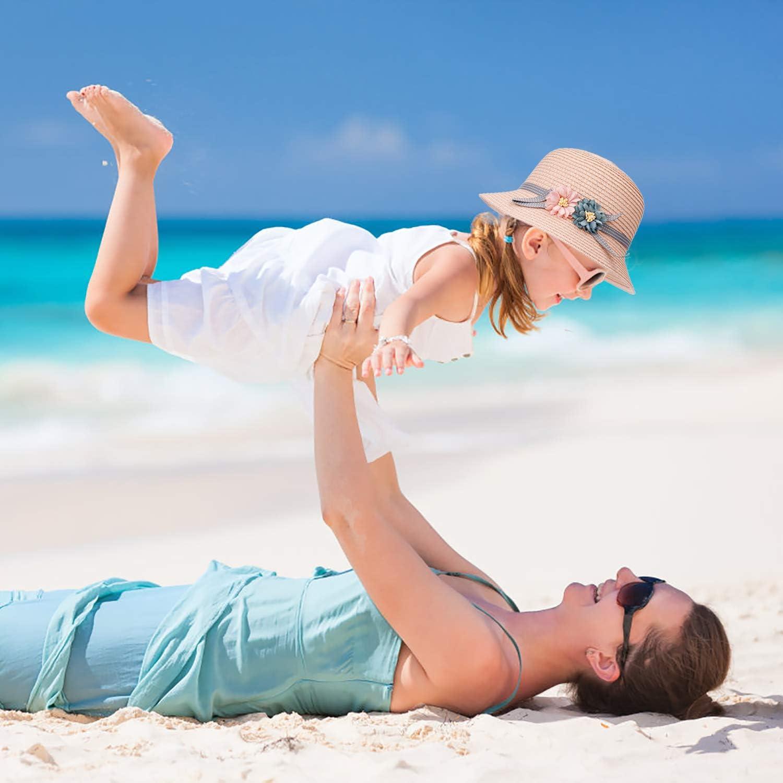 FT-SHOP Sombrero de Paja Ni/ñas Gorra de Sol Chica y Bolsillo Set con Decoracion de flores Gorro de Playa para Viaje Beach Piscina al Aire Libre