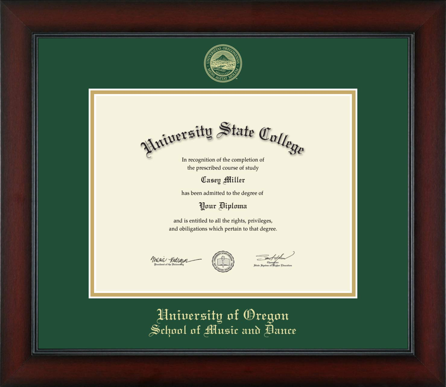 University of Oregon School of Music and Dance - Officially Licensed - Gold Embossed Diploma Frame - Diploma Size 11'' x 8.5''