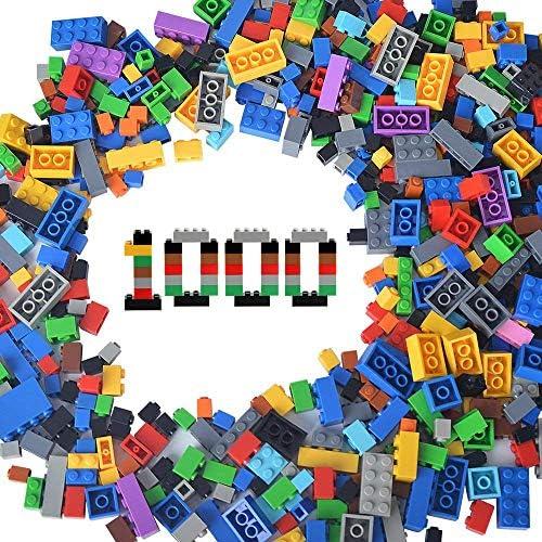 EKIND 1000 Pieces Classic Building Bricks Set – 12 Different Shapes & Sizes – Regular Colors – Compatible with All Major Brands (1100 Grams, Set A)