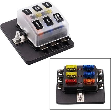 YGL Caja de Fusibles 6 Vías Portafusibles con Lámpara de Alerta LED Kit para Coche Barco Marino Triciclo 12V 24V: Amazon.es: Coche y moto