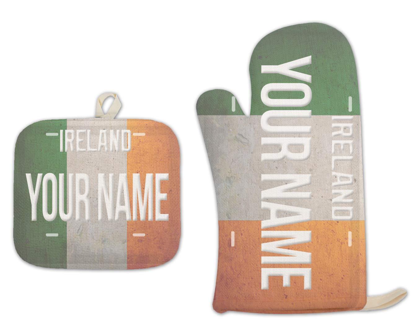 Bleu Reign BRGiftShop Personalized Custom Name License Ireland Plate Linen Oven Mitt and Potholder Set