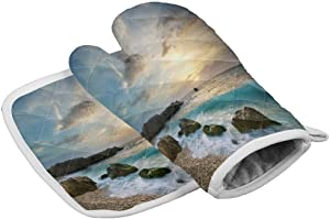 Kitchen Heat Resistant Hot Oven Mitts & Potholders, Surf Reef Sunrise Ocean Beach - Microwave Oven Gloves for BBQ Cooking Baking, Grilling, Machine Washable