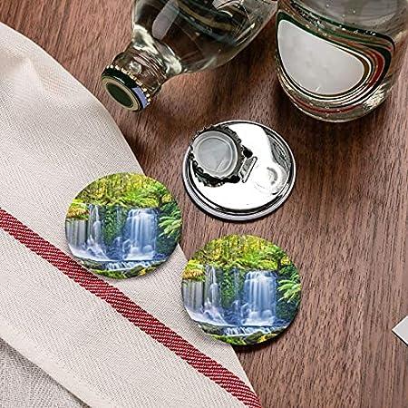 Plantas tropicales verdes y abrebotellas redondas en cascada / imanes de nevera sacacorchos de acero inoxidable pegatina magnética 2 piezas