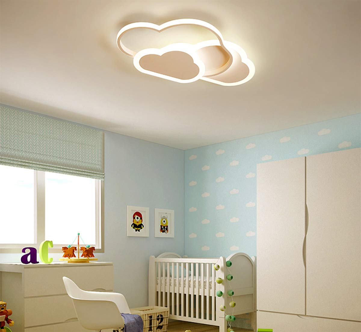 blancas modernas Aplique de pared para sala de estar Pasillo de dormitorio y habitaci/ón de infantil Luz de techo LED blanco c/álido 3000K 32W 2700lm 42cm l/ámpara de techo nube creativa
