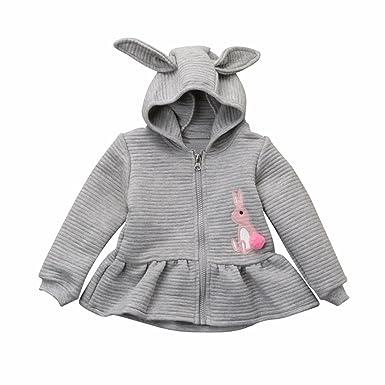 f061437a8a9 Bebé dibujos conejo Bola de piel Cremallera abrigo con capucha ...