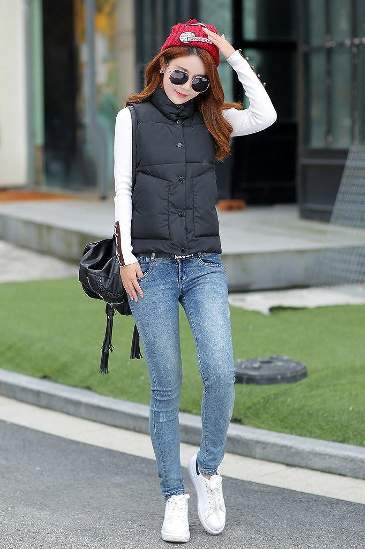 Smile YKK Womens Cotton-Padded Puffer Vest High Neck Sleeveless Down Coat