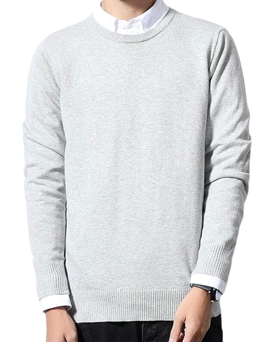 GAGA Mens Long Sleeve Basic Pullover Pure Color Knit Round Neck Sweater