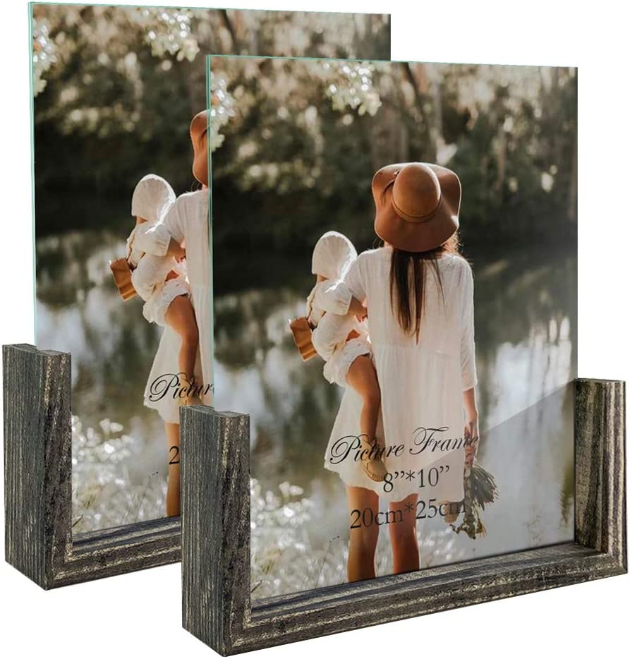8x10 Picture Frame Set of 2, Rustic Photo Frames Made of Brown Wood Base and Glass Covers for Tabletop Decoration